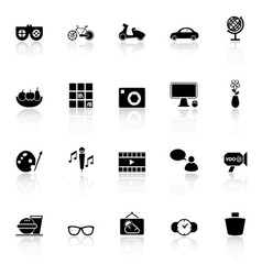 Favorite and like icons with reflect on white vector image