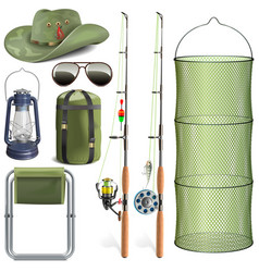Fishing accessories vector