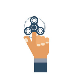 flat hand with hand spinner icon isolated on vector image
