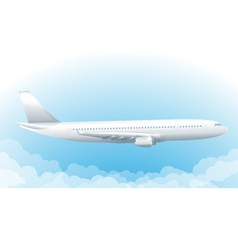 Flying airplane in sky vector