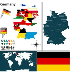 Germany map with regions and flags vector image