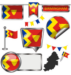 Glossy icons with flag of birmingham vector