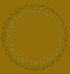 golden circle frame on dark golden background vector image