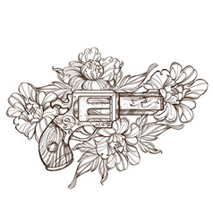 Gun and peonies contour isolated on white vector