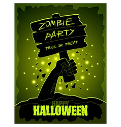 Halloween poster zombies hand and wooden sign vector