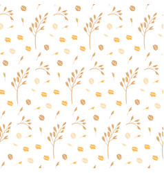 Hand drawn seamless pattern oat grains flakes vector