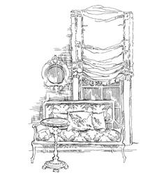Hand made vecor sketch of cozy interior elements vector