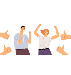 Happy people and thumb up vector