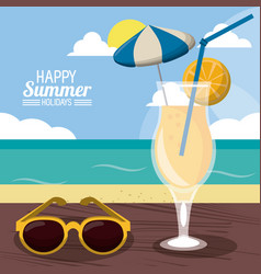 Happy summer holidays poster beach cocktail vector