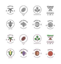 Healthy bio cosmetics oil linear logos organic vector