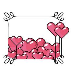 Heart balloons inside curvy frame vector