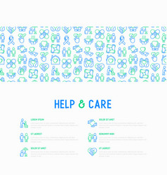 help and care concept with thin line icons vector image