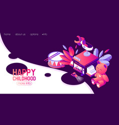 horizontal banner with isometric kids toys vector image