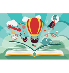 Imagination concept - open book with air balloon vector image