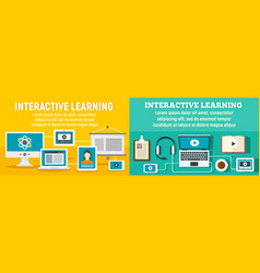 Interactive learning banner set flat style vector