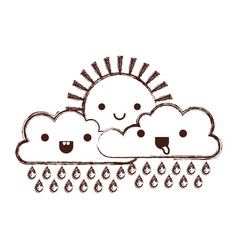 kawaii sun and cloud with rain in monochrome vector image