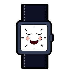 Kawaii wrist watch bracelet square cartoon vector