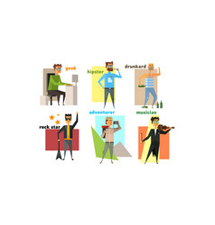 Male charactes set people hobbies professions vector