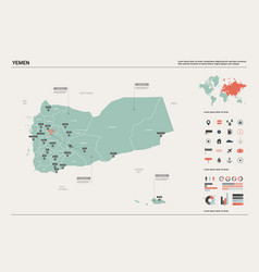 Map yemen high detailed country vector