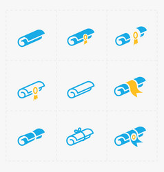 modern flat scrolls icons with ribbon on white vector image