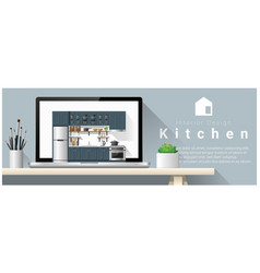 modern kitchen interior design background vector image vector image