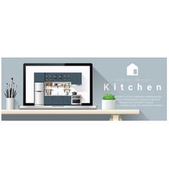 modern kitchen interior design background vector image