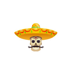 moustache and sombrero hat mexican fiesta objects vector image
