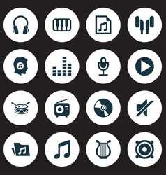 Multimedia icons set collection of start earmuff vector