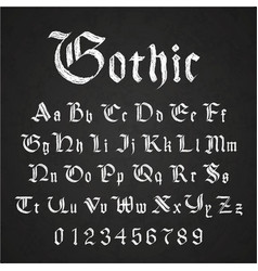 old hand drawn gothic letters drawing with white vector image