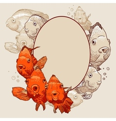 Ornamental frame with fish vector