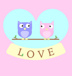 Owls in love background vector