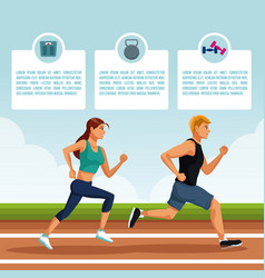people running infographic vector image