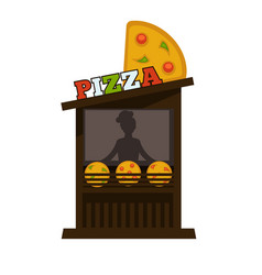 Pizza street food vendor booth stand or pizzeria vector