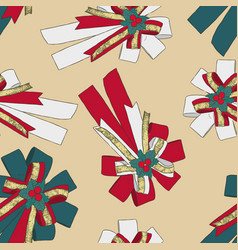 ribbon christmas concept seamless pattern vector image