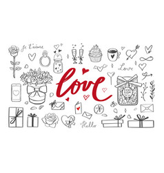 romantic doodle set handwritten lettering vector image