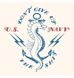 Sea horse with an anchor vector image