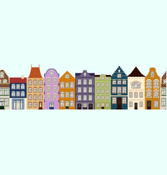 Seamless border of cute retro houses exterior vector