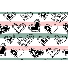 Seamless pattern with hand drawn ink doodle hearts vector image