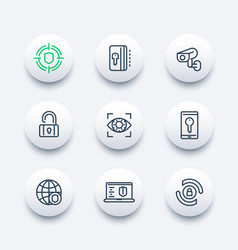 Security and protection line icons set vector