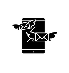 sending messages black icon sign on vector image