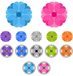 Set of colored ornaments Spirographs Mandalas vector image