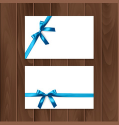 set of gift cards with realistic bow and ribbon vector image