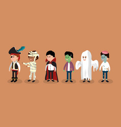 set of halloween boys vector image
