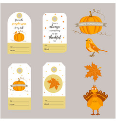 set of holiday thanksgiving backgrounds badges vector image