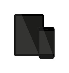 set of tablet and phone with dark screens on a vector image