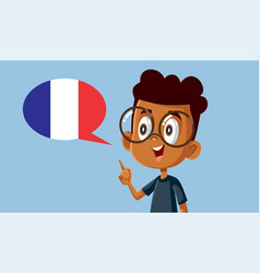 Smart boy learning to speak french vector