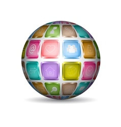 Sphere with media icons vector image
