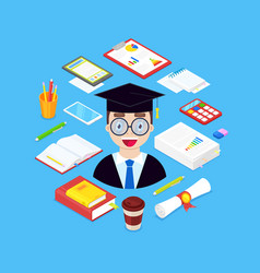 student and stationary vector image