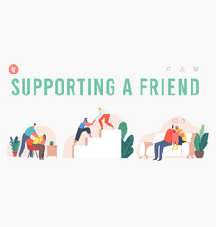 Supporting a friend landing page template vector