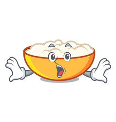 Surprised cottage cheese mascot cartoon vector